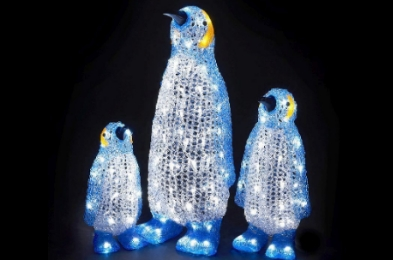 3 Piece Ice White Indoor Decorative Penguin Winter Family Mains 64cm