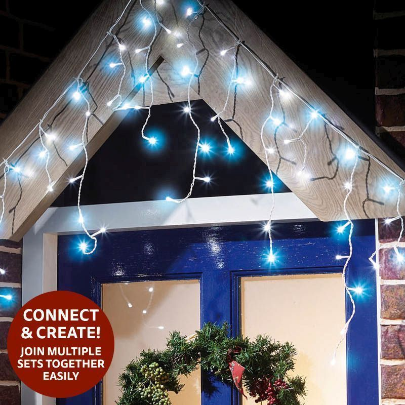 300 LED Blue/White Outdoor Animated Icicle Extendable Light Mains 1.5m