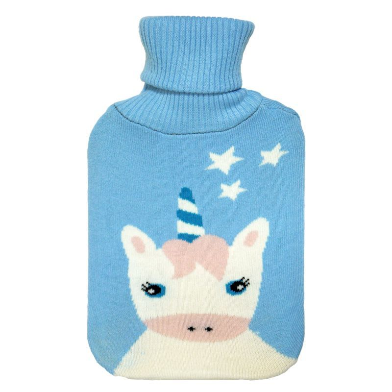 2 Litre White Unicorn Stars Blue Hot Water Bottle