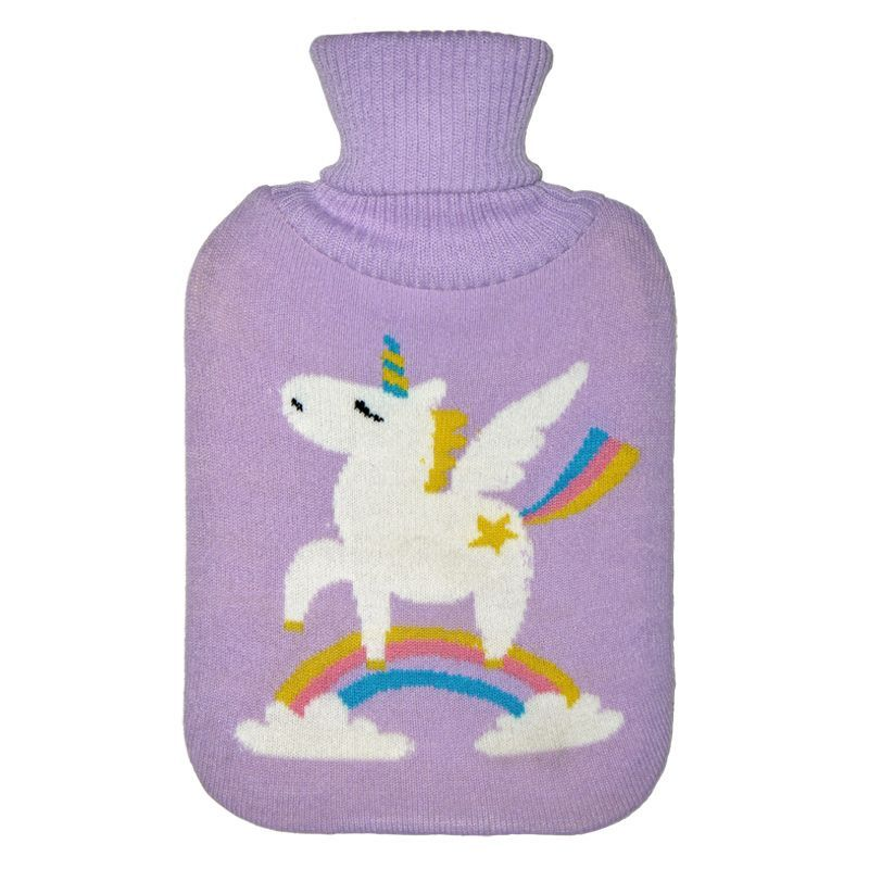 2 Litre White Unicorn Rainbow Purple Hot Water Bottle