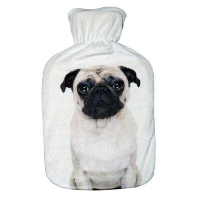 Image of 2 Litre Hot Water Bottle Black & White Pug