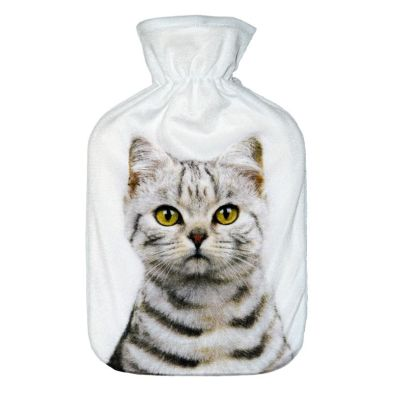 Image of 2 Litre Hot Water Bottle White & Brown Striped Cat