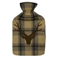 See more information about the 2 Litre Cream Tartan Hot Water Bottle Brown Stags Head