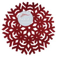 See more information about the 2 Pack Placemates Red Glitter Snowflake