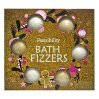 See more information about the Possibility 6 X 90g Bath Fizzers Golden Wreath Box Gift Set