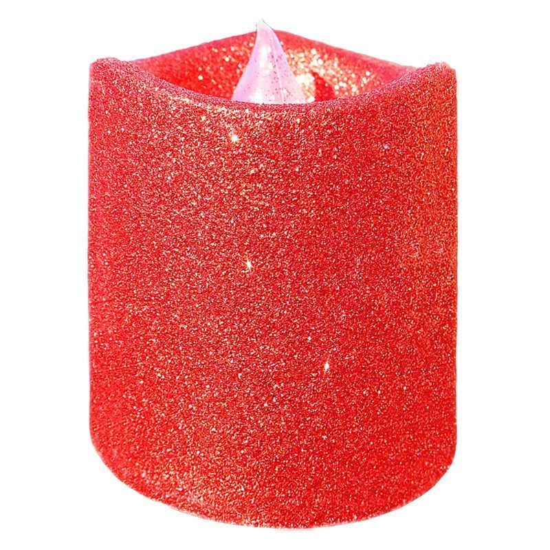 8cm LED Glitter Candle Red