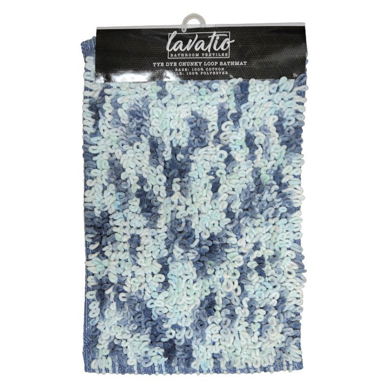 Tye Dye Chunky Loop Bathmat Blue