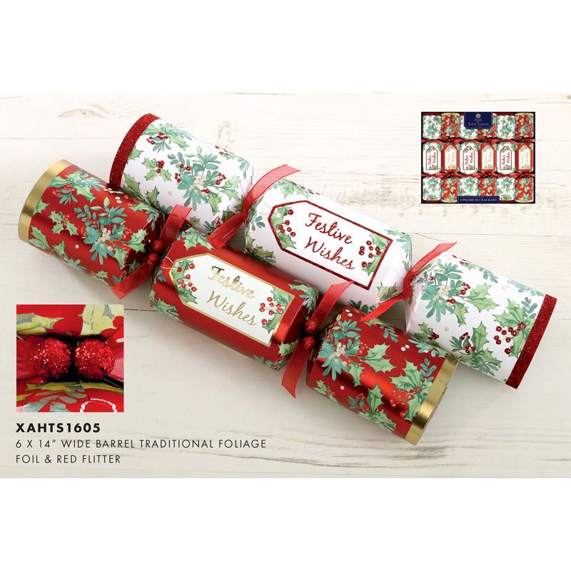 Christmas Crackers Contents.6 Premium Christmas Crackers 14 Inch Traditional Foliage