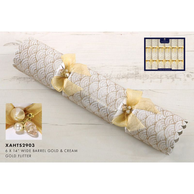 Christmas Crackers Contents.6 Premium Christmas Crackers 14inch Gold Cream