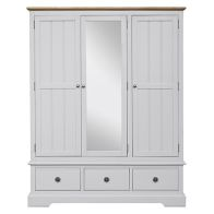 See more information about the Olivia Wardrobe Grey & Oak 3 Door 3 Drawer With Mirror