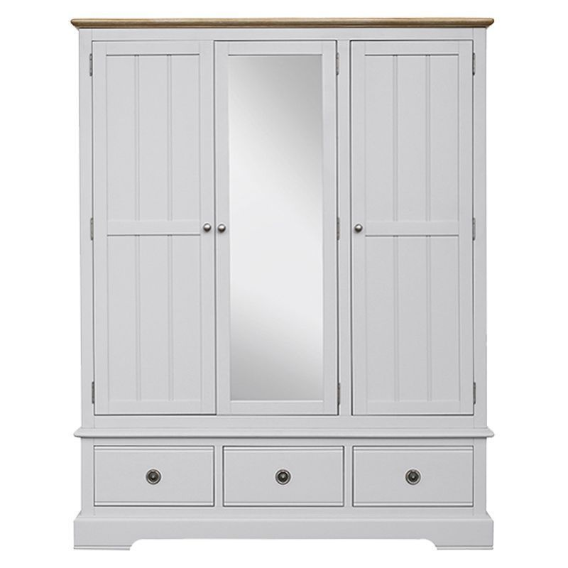 Olivia Oak 3 Drawer 3 Door Wardrobe