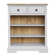 See more information about the Olivia Bookcase Grey & Oak 3 Shelf 2 Drawer