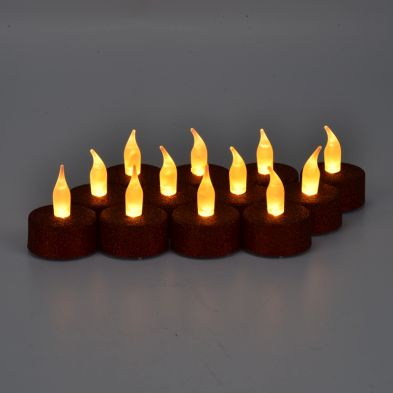 12 Pack of Red Glitter LED Tealights