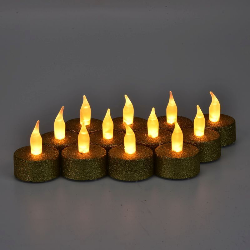12 Pack of Gold Glitter LED Tealights