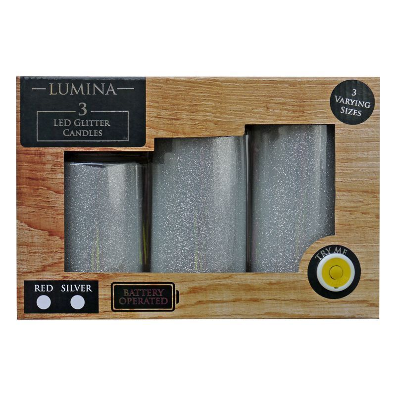3 Pack Led Glitter Finish Candles Silver