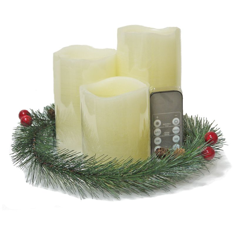 3 LED Large Candle Set with Garland Remote Control