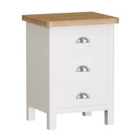 See more information about the Jasmine White 3 Drawer Bedside Cabinet