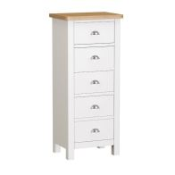 See more information about the Jasmine White 5 Drawer Narrow Chest of Drawers