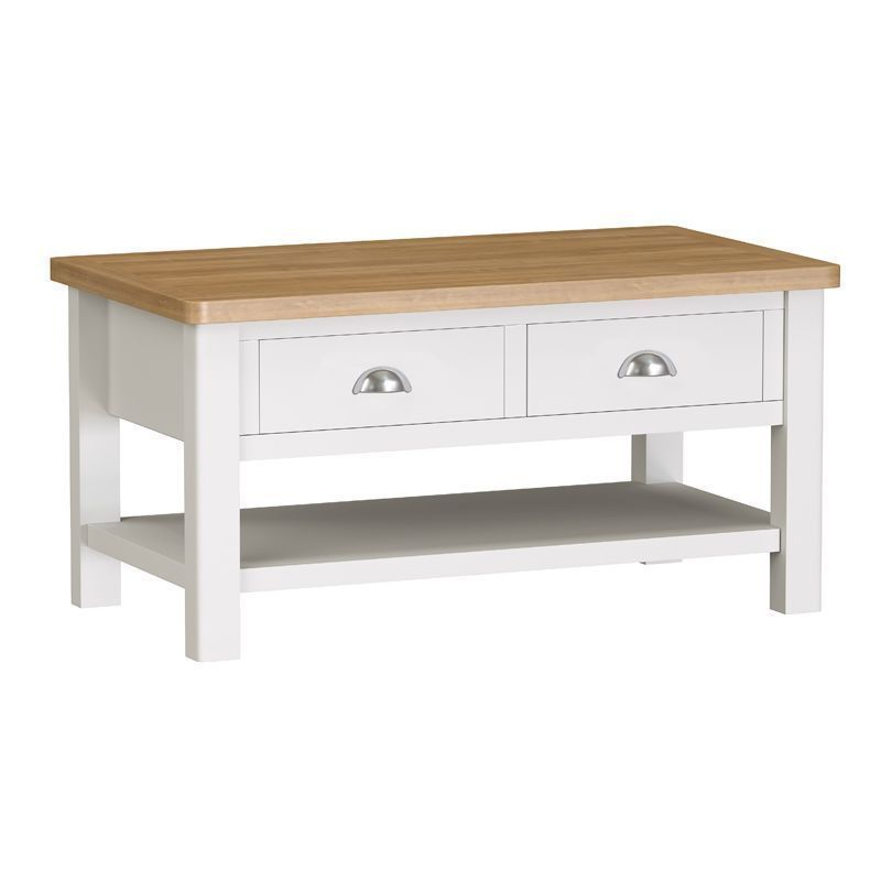 Jasmine White 2 Drawer Large Coffee Table