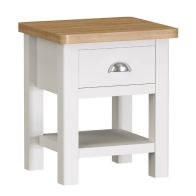 See more information about the Jasmine White 1 Drawer Lamp Table