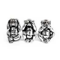 See more information about the Set of 3 Monkey Money Boxes - Silver Coloured