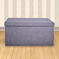 See more information about the Small Grey Fabric Ottoman 86 x 39 x 38cm