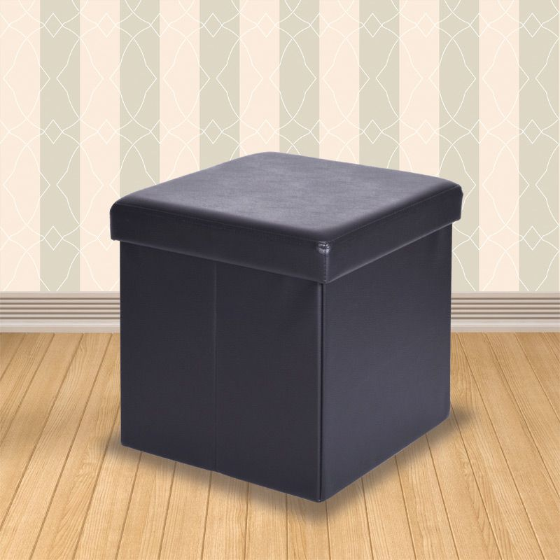 Admirable Secreto Storage Ottoman Black Faux Leather Small Onthecornerstone Fun Painted Chair Ideas Images Onthecornerstoneorg