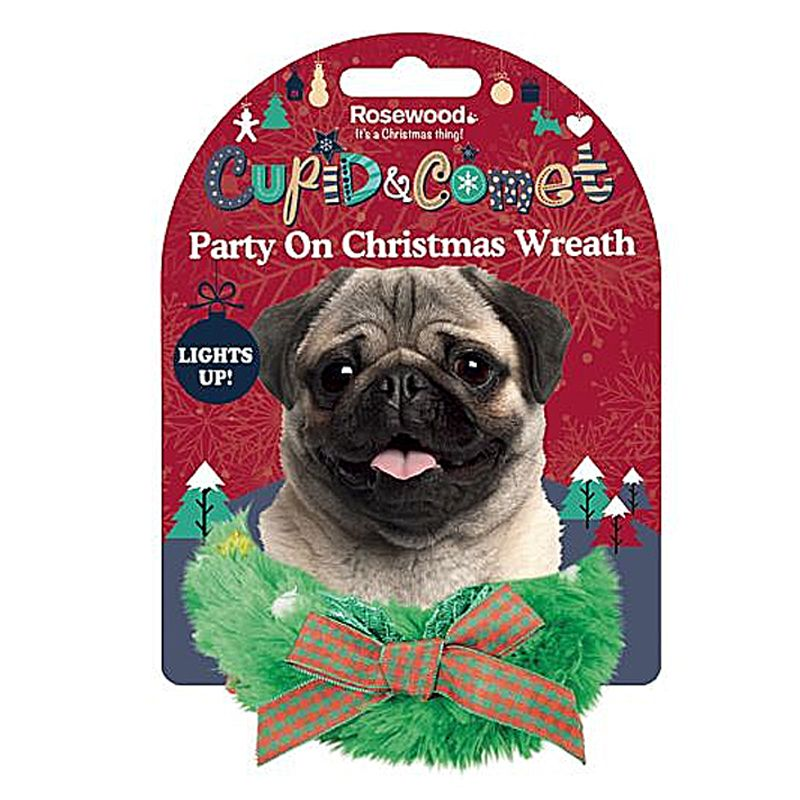 Novelty Party On Xmas Wreath For Dogs  Cupid & Comet