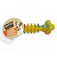 See more information about the Extra Select Rubber Teething Dumbell Dog Chew Toy Yellow