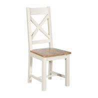 See more information about the Harmony White Fixed Cross Back Wooden Seat Dining Chair
