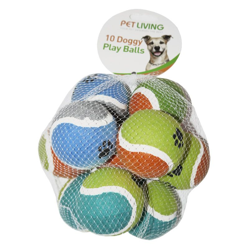 10pk Doggy Play Balls Assorted Colours