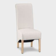See more information about the Lancelot Scroll Back Fabric Dining Chair Cappuccino
