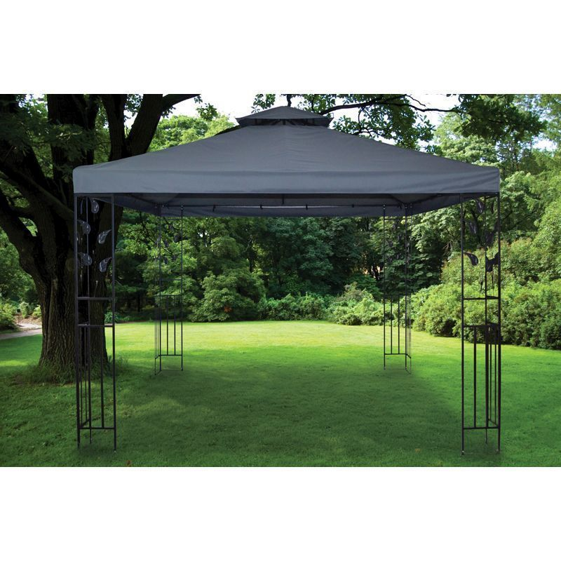 3x3m Grey Metal Leaf Summer Garden Gazebo
