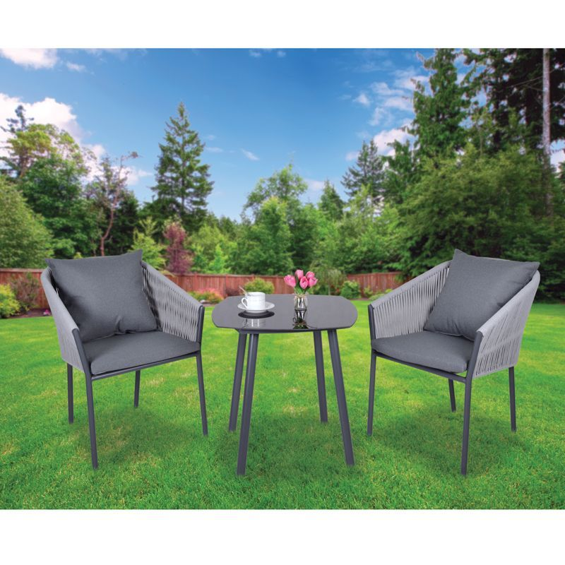 Croft Grey Mobel 3 Piece Garden Bistro Set