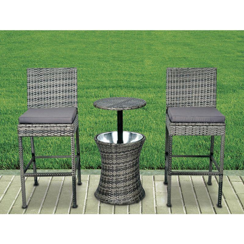 Terrific Croft 3 Piece Ice Bucket Bar Stool Garden Furniture Set Short Links Chair Design For Home Short Linksinfo