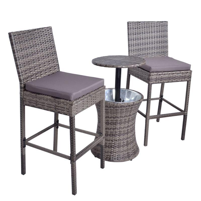 Sensational Croft 3 Piece Ice Bucket Bar Stool Garden Furniture Set Short Links Chair Design For Home Short Linksinfo