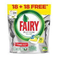 See more information about the Fairy Platinum All In One Dishwasher Tablets Lemon 18 +18 Free Wash