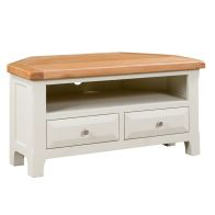 See more information about the Harmony Corner TV Unit Oak & White 1 Shelf 2 Drawer