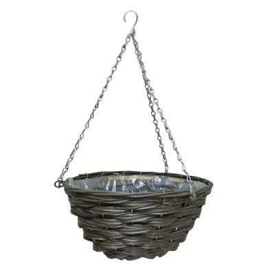 12 Inch Traditional Hanging Rattan Basket Natural