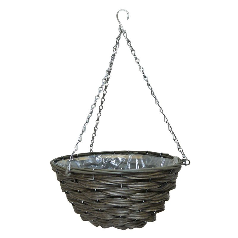 14 Inch Traditional Hanging Rattan Basket Natural