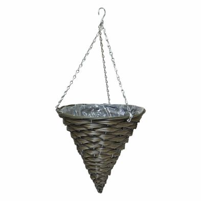 12 Inch Cone Shaped Hanging Rattan Basket Natural