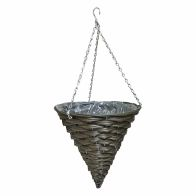 See more information about the 14 Inch Cone Shaped Hanging Rattan Basket Natural