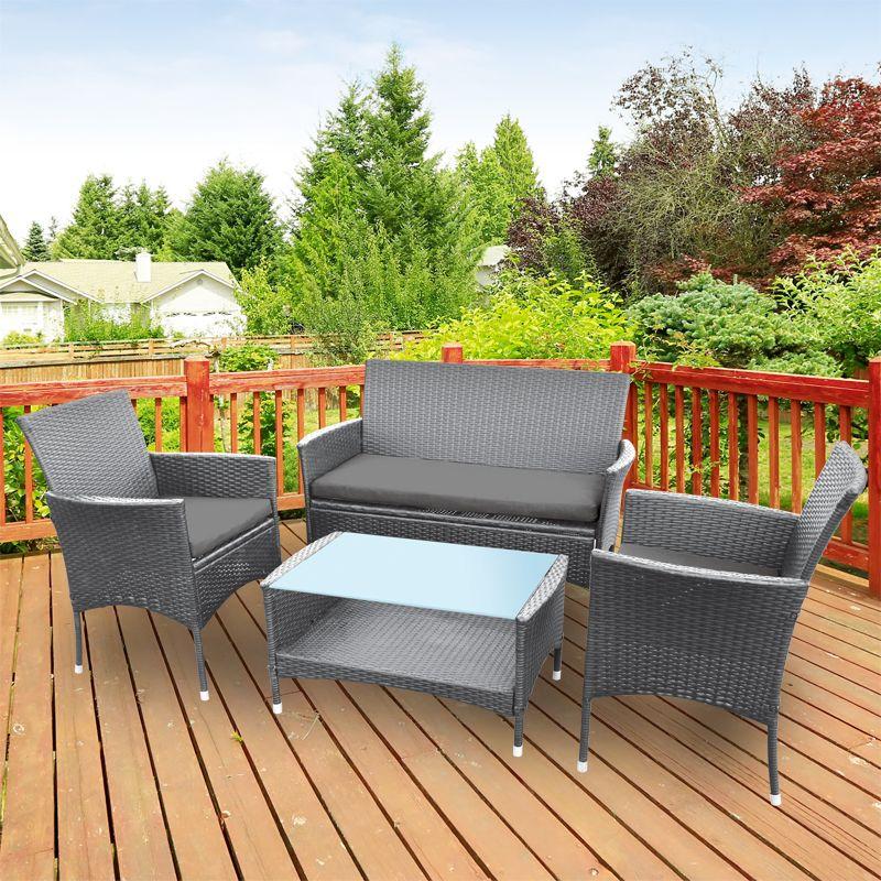 4 Seater Grey Rattan Lounge Garden, Grey Rattan Patio Furniture Set