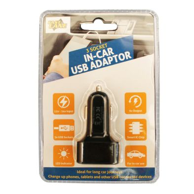 USB In-Car Charger 3 Sockets
