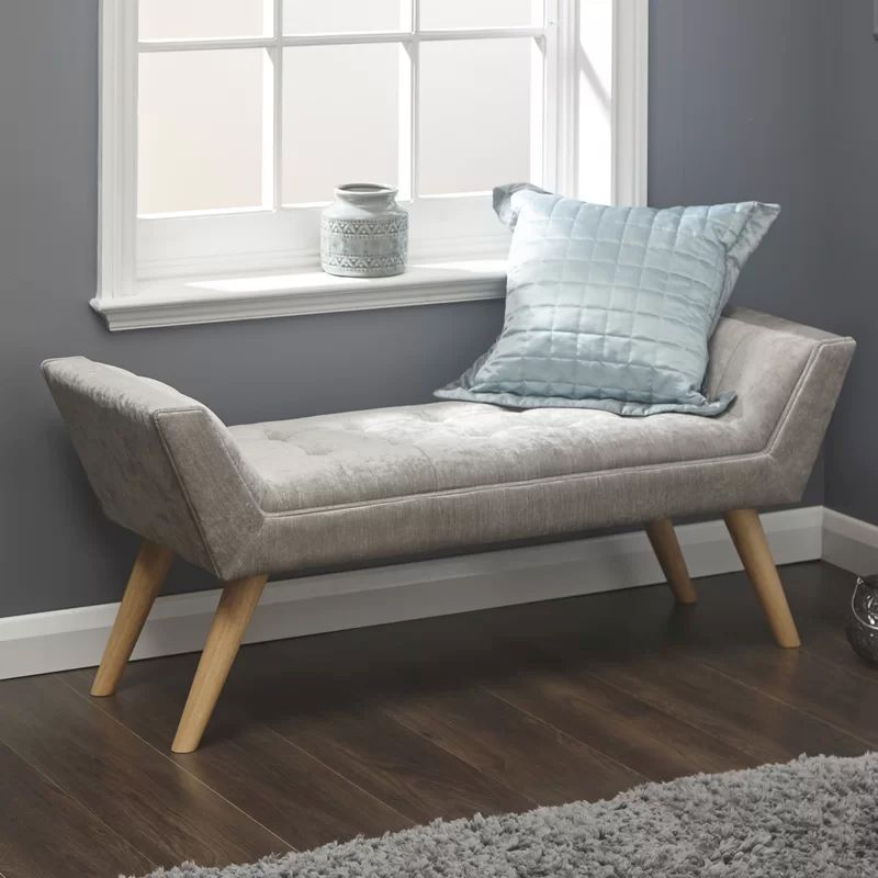 Hopsack Fabric Milan Upholstered Bench Grey