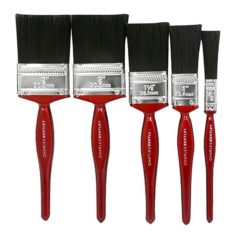 5 Pack Cherry Handle Assorted Paint Brushes