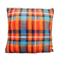 See more information about the Sherpa Fleece & Tartan Cushion 50 x 50cm Orange & Blue