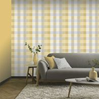 See more information about the Country Check Ochre Wallpaper