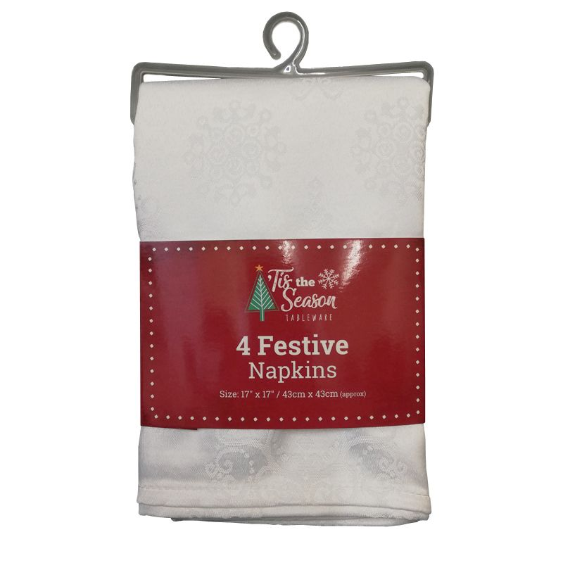 4 Pack Napkins White Tree Print
