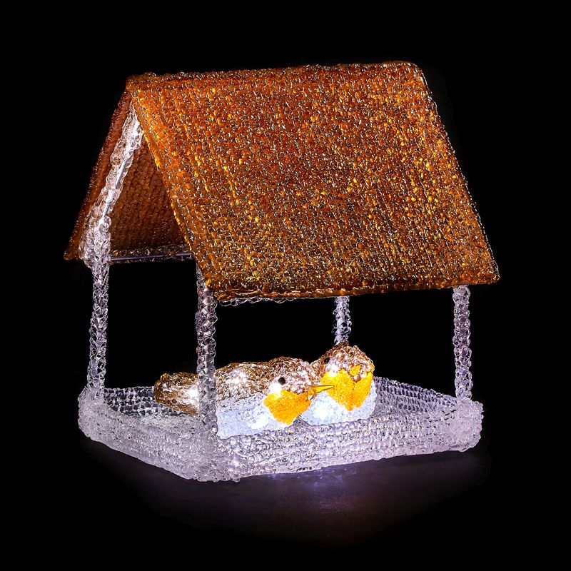 16 LED Outdoor Light Up Bird Table With 2 Robins Mains